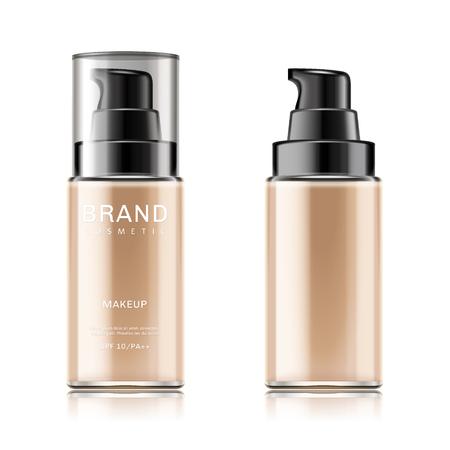 ファンデーションコンテナモックアップ、3d イラストで白い背景に分離された化粧品ボトルパッケージデザイン  イラスト・ベクター素材