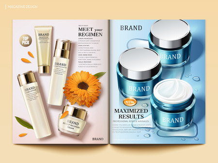 Cosmetic magazine template, Moisturizing skin care products with water drops and calendula elements in 3d illustration Çizim