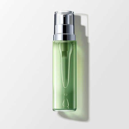 Skin toner mockup, blank spray bottle with liquid isolated on grey background in 3d illustration, top view Illustration