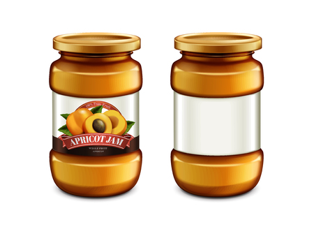 Apricot Jam glass jar, package design with label in 3d illustration isolated on white background, container mockup Ilustracja