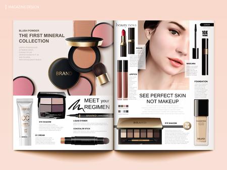 Plantilla de revista cosmética, rubor de mejillas, sombra de ojos y productos de lápices labiales en la ilustración 3d