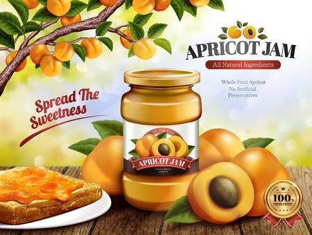 Annunci di marmellata di albicocche, marmellata di frutta deliziosa con albicocche fresche accanto e diffusione di marmellata al pane tostato, illustrazione 3d nel frutteto