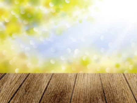 Natural bokeh background, outdoor sunshine and green leaves with wooden table in 3d illustration Illustration
