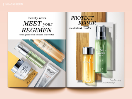 Cosmetic magazine template, top view of skincare products isolated on geometric background in 3d illustration Ilustracja