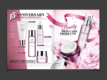 Cosmetic magazine template, skincare set with camellia and ribbon decorations in 3d illustration