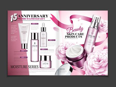 Kosmetisch tijdschriftmalplaatje, skincare die met camelia en lintdecoratie wordt geplaatst in 3d illustratie