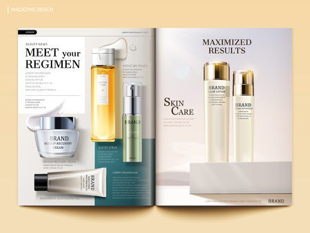 Cosmetic magazine template, skincare products with their texture isolated on geometric background in 3d illustration Ilustração
