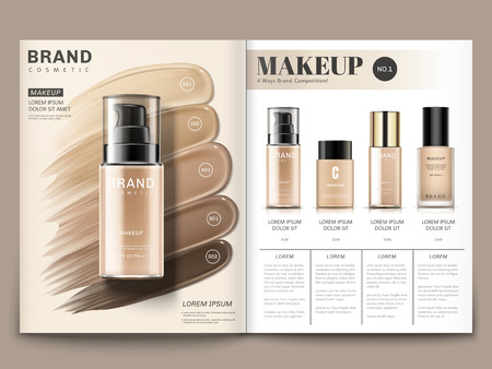 Cosmetic magazine template, foundation series with creamy texture in 3d illustration Zdjęcie Seryjne - 89410805