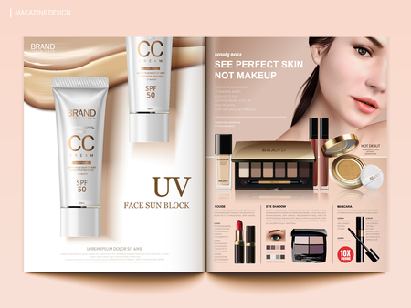 Cosmetic magazine template, fashion makeup trends brochure with foundation, sunblocks and eye shadows products in 3d illustration