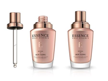 Essence bottle mockup, droplet bottle package design in 3d illustration, isolated on white background