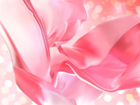サテンの装飾、ピンク生地を 3 d イラストで光沢のある背景のボケ味に浮かぶ  イラスト・ベクター素材