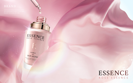 Elegant essence ads, essence oil dripped from pink droplet bottle in 3d illustration, floating silk fabric and glitter spots elements