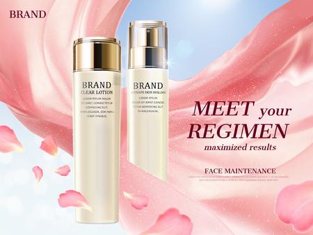 Annonces de lotion cosmétique, bouteille blanche perle avec tissu de soie flottant et éléments de pétale floral illustration 3d Vecteurs