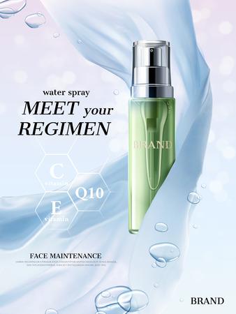 リフレッシュローション広告、フローティングシルク生地と水と半透明の緑のボトルは、3d イラスト、ボケキラキラ背景の要素をドロップします