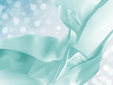 Drijvende satijndecoratie, turkooise stof op bokeh glanzende achtergrond in 3d illustratie