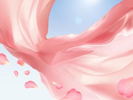 ピンクの生地、3 d イラスト、シルク、滑らかな質感でロマンチックなデザイン要素を青い空を背景に浮かぶ