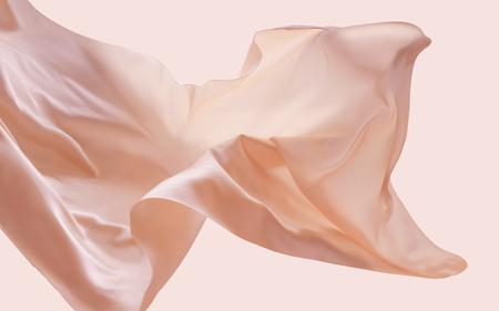 Tessuto galleggiante carnagione, elementi di design romantico nell'illustrazione 3d, seta e consistenza liscia