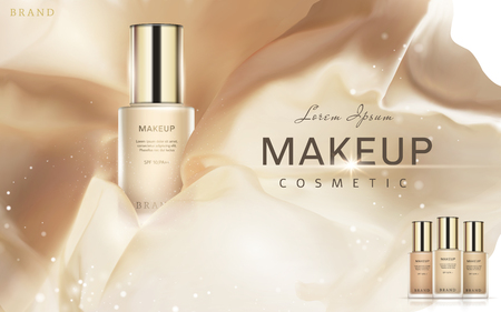 Trendy foundation ads, complexion silk fabric elements with foundation containers in 3d illustration, glitter spots