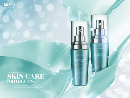 Skin care ads, turquoise spray bottle with floating satin elements isolated on bokeh glittering background in 3d illustration