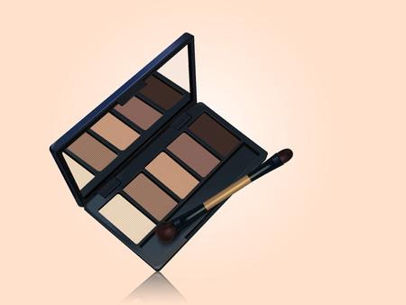 アイシャドウ パレット モックアップ、茶色色トーン化粧道具 3 d イラストレーションで顔色背景に分離