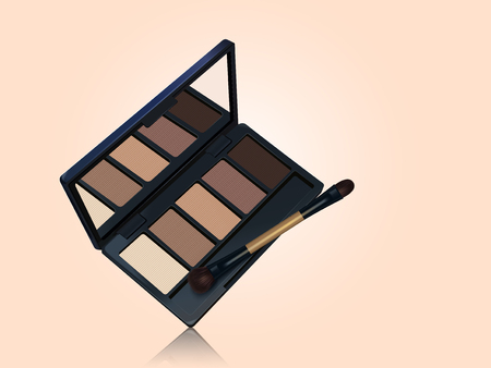 Eye shadow palette mockup, brown color tone makeup tools isolated on complexion background in 3d illustration Ilustrace