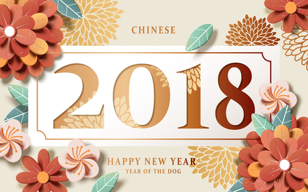 Chinese New Year design, graceful floral paper art style on beige background