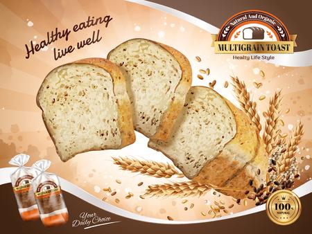 マルチグレイン トースト広告、健康的で自然なスライスしたトースト粒、3 d イラストレーションで空気中に浮遊  イラスト・ベクター素材