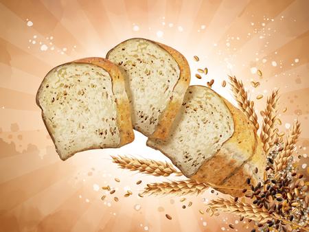 Elementi di progettazione del pane tostato multi-grano, pane affettato che galleggia nell'aria con i grani nell'illustrazione 3d, fondo a strisce Archivio Fotografico - 90668665