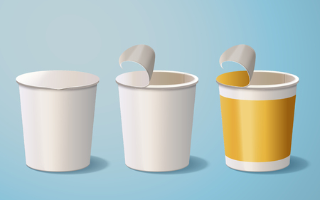Blank paper bowl, 3d illustration container mockup template for design uses isolated on blue background