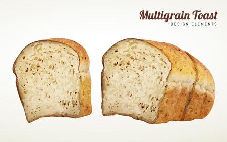 マルチグレイントーストデザイン要素、ベージュの背景に分離された3Dイラストでスライストースト