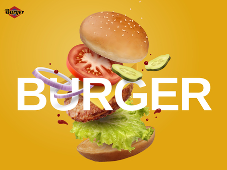 Jumping Burger ads, delicious and attractive hamburger with refreshing ingredients in 3d illustration on yellow background Çizim