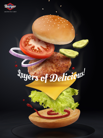 Jumping Burger ads, delicious and attractive hamburger with refreshing ingredients in 3d illustration on black background Ilustração