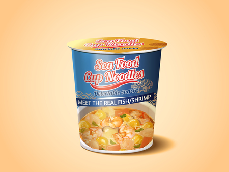 Seafood Cup Noodles, instant noodles product package design in 3d illustration Ilustração