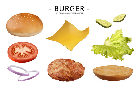 Hamburger ingredients set, delicious vegetables, patty, cheese, bun isolated on white background, 3d illustration Stock Illustratie