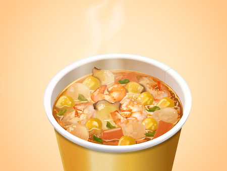 Seafood Cup Noodles, instant noodles product in 3d illustration, elevated view for attractive ingredients