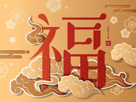 中国の旧正月ポスター、雲のパターン、紙のアートスタイルと黄金色の背景に中国語の単語でフォーチュン