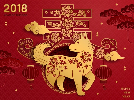 Chinese new year art on red background