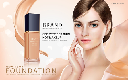Foundation makeup ads, pretty model in short hair with foundation container and cream texture isolated on bokeh background in 3d illustration Illustration