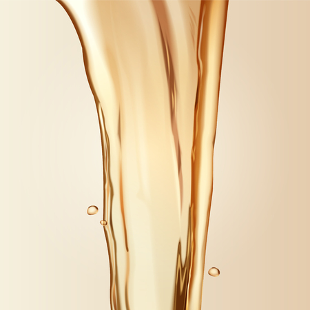 純粋なオイル要素、3Dイラストのヘアケア要素のスキンケア、液体を注ぐ