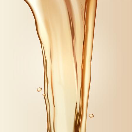 Zuivere olie-elementen, huidverzorging van haarverzorgingselementen in 3d illustratie, gietende vloeistof