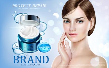 Huidverzorgingsadvertenties, mooi model in kort haar met vochtige crèmekruik en bellenelementen in 3d illustratie Stock Illustratie