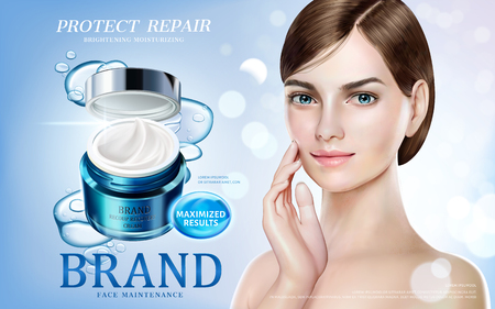 Skin care ads, pretty model in short hair with moisture cream jar and bubbles elements in 3d illustration