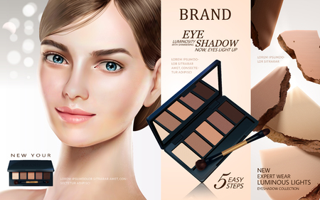Eyeshadow palette ads, pretty model in short hair with eyeshadow products and powder texture elements in 3d illustration