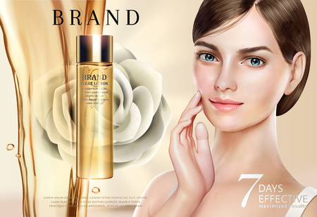 Skin care ads, pretty model in short hair with lotion and liquid pouring down in 3d illustration