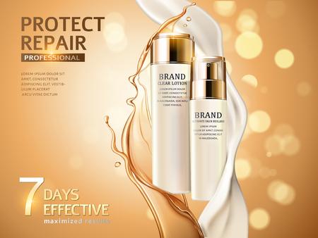 Huidverzorging advertenties, combinatie van olie en room in 3d illustratie, cosmetische flessen geïsoleerd op glitter bokeh achtergrond
