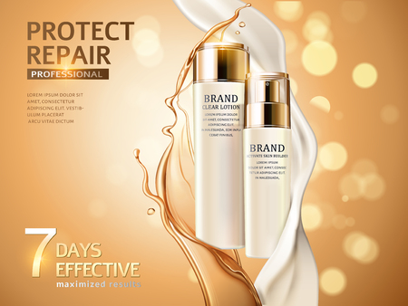 Skin care ads, combination of oil and cream in 3d illustration, cosmetic bottles isolated on glitter bokeh background Иллюстрация