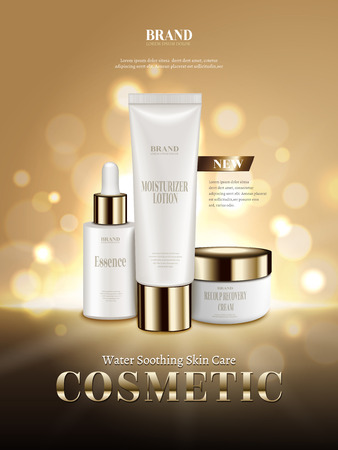 Cosmetic skincare ads, moisture soothing products set isolated on golden glittering background in 3d illustration