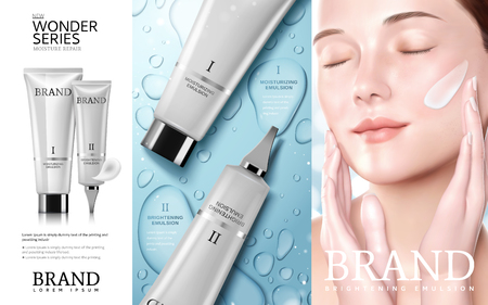 Skincare cosmetic ads, Moisture series tube with beautiful woman model, water drop background in 3d illustration Vectores