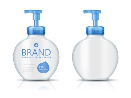 発泡フェイシャルウォッシュボトル、3Dイラストで白い背景に分離されたブランク化粧品容器モックアップ