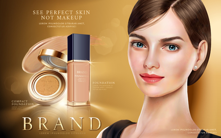 Foundation makeup ads, pretty model in short hair with foundation and cushion compact in 3d illustration, golden color background